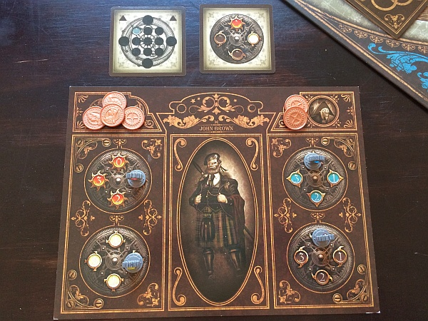 Player board and secret objective cards