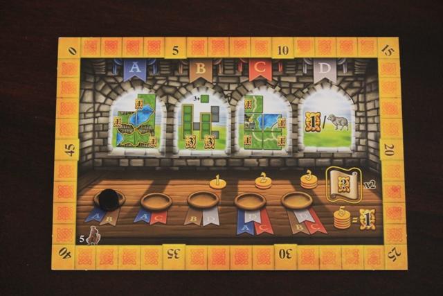The game board & 4 scoring tiles