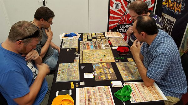 Euro Games like Orleans seem to put all players around the table into classical statue poses.